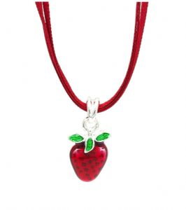 Sweet Strawberry Necklace With Red Ribbon